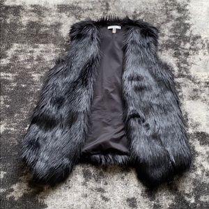 DKNY Black Fur Vest